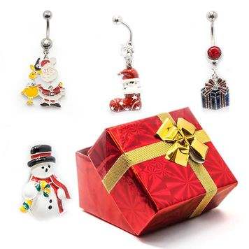 Pack of 4 Holiday Belly Button Rings with Gift Box #8