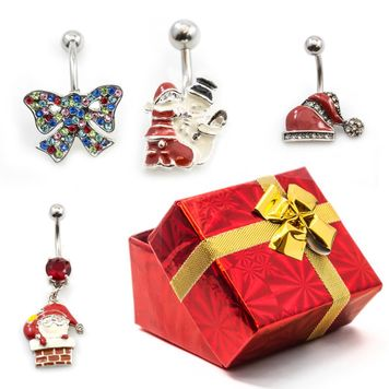 Pack of 4 Holiday Belly Button Rings with Gift Box #9