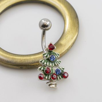 Christmas Tree Navel Ring with Cz Gems
