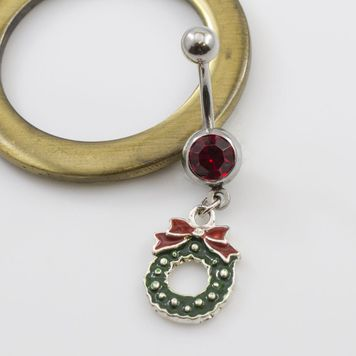 Christmas Wreath with Bow and Red CZ Jewel Dangle Belly Ring - 14g