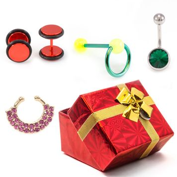 Pack of  4-  Faux Ear plugs, Tongue Ring, Belly Button Ring, and Faux Septum- Gift Box Included