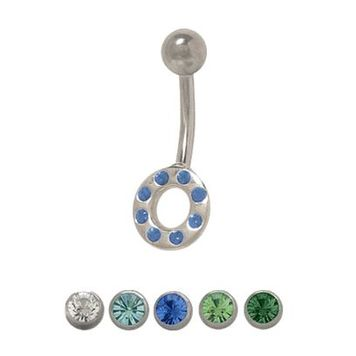 14 gauge Circle Belly Ring with Cz Jewels