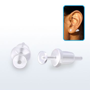 Clear PTFE flexi earring stud retainer 20g/0.8mm with a flat front and soft silicon back butterfly. One pair