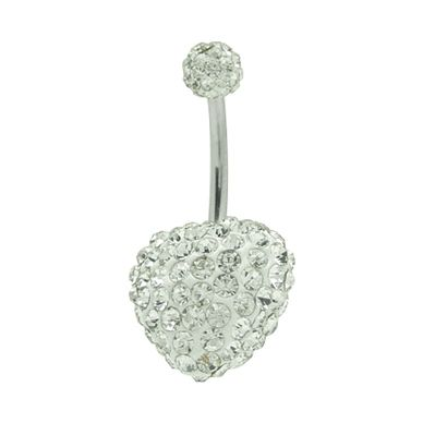 e85ca38100a4a Clear Swarovski Crystal Heart Belly Button Ring
