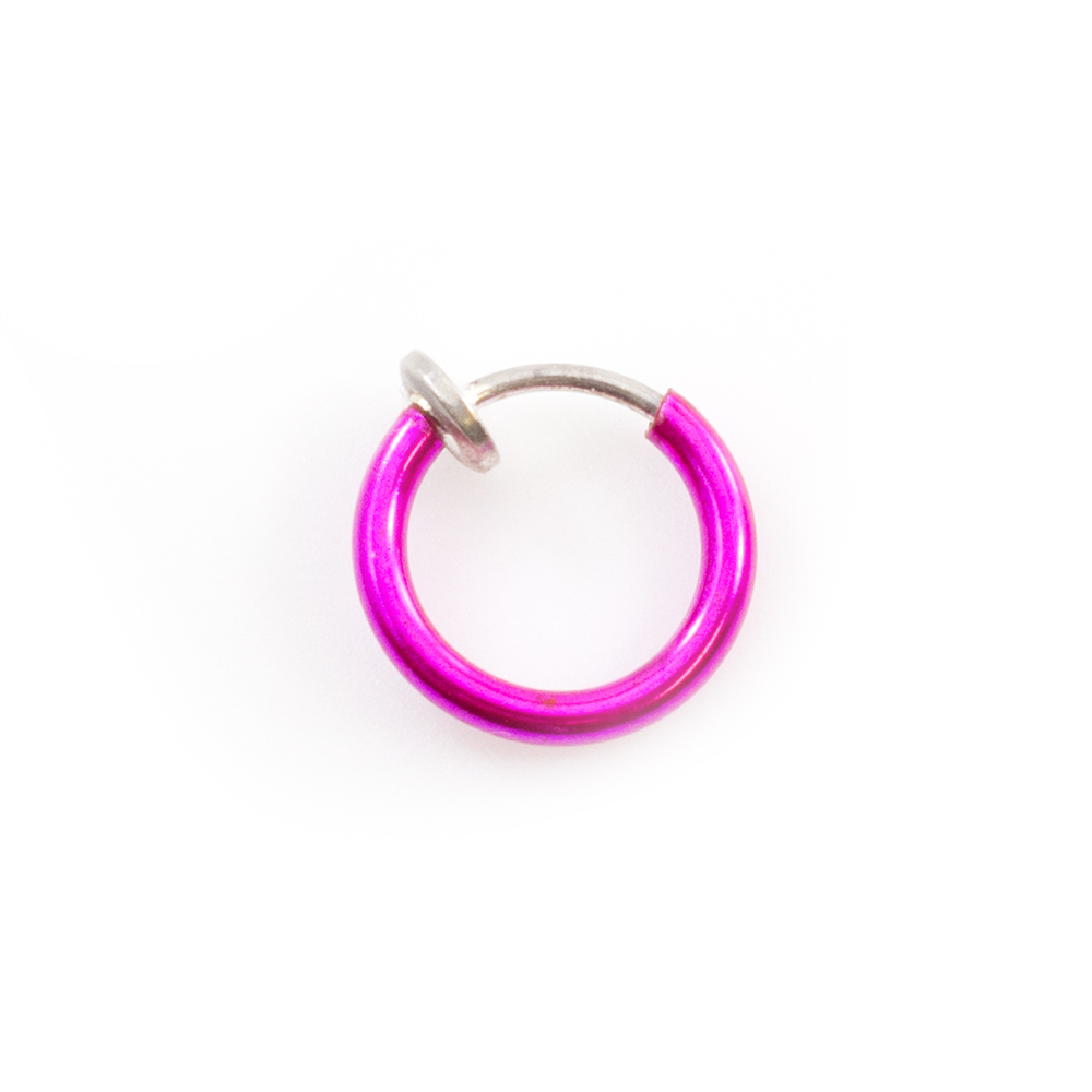 Pink Fake Non-Piercing Nose Clip Sold Each Rhodium Plated with Bezel-Set Opalite