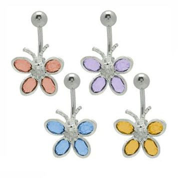 14 gauge Colorful Cz Gems Butterfly Belly Button Ring