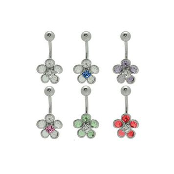 Colorful Cz Gems Flower 14 gauge Belly Button Ring