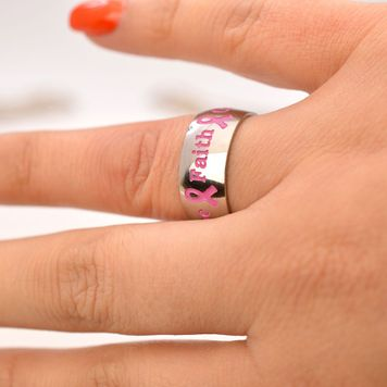 Courage, Hope, Faith Pink Ribbon Stainless Steel Ring
