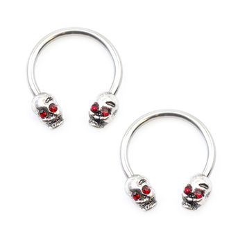 Pair of Horseshoes with Skull Double End Balls 16ga