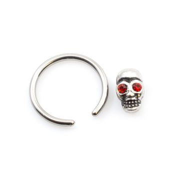 Pair of Captive Bead Rings with Red Eye Skull Design 16ga