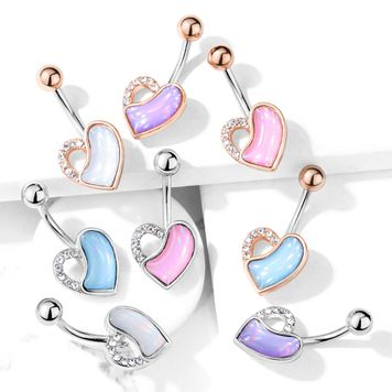 Crystal Paved and Illuminating Stone Filled Heart Surgical Steel Belly Button Ring 14ga