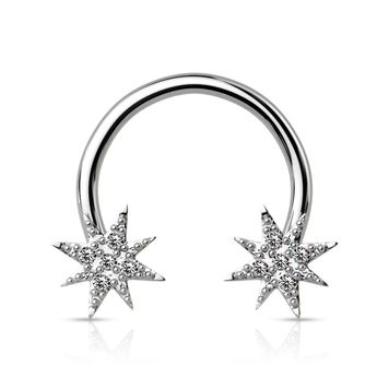 Crystal Paved Starburst Ends Surgical Steel Circular Barbell/Horseshoe 16G 14G