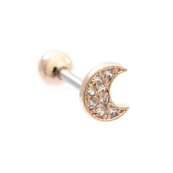 Moon Cubic Zirconia Design Ear Cartilage Barbell 16ga Surgical Steel- Sold Each