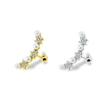 Cartilage Barbell with Line  Cubic Zirconia Stars & Pearls Surgical Steel 16ga