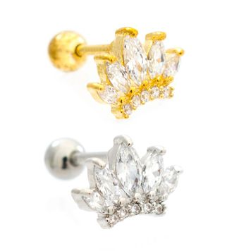 Cute Crown with Cubic Zirconias Design Ear Cartilage Barbell 16ga Surgical Steel- Sold Each