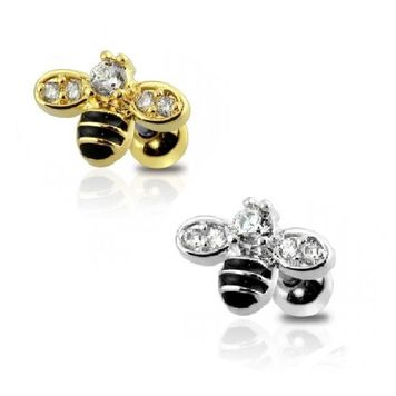 Cartilage Barbell with Bumblebee Design and Multiple Cubic Zirconia Stones 16g
