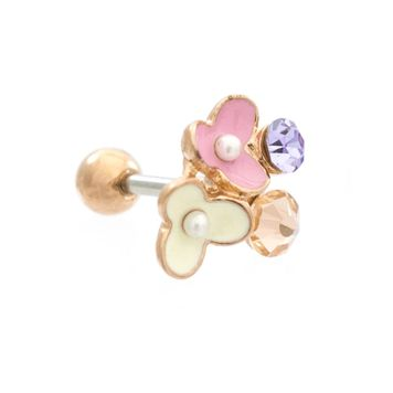 Enamel Flowers Cubic Zirconia Jeweled Design Ear Cartilage Barbell 16ga Surgical Steel - Sold Each
