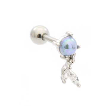 Pearl Leaf Dangle Cubic Zirconia Design Ear Cartilage Barbell 16ga Surgical Steel-Sold Each