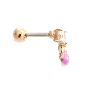 Opalite Cherry Top Cubic Zirconia Design Ear Cartilage Barbell 16ga Surgical Steel- Sold Each