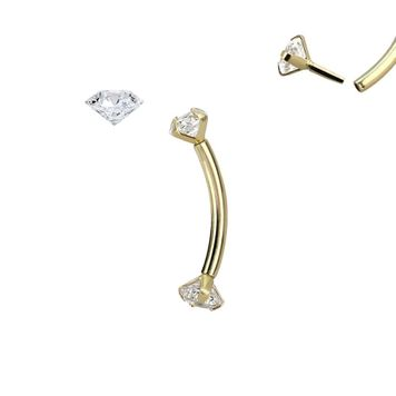 Curved Barbell 14K Gold with Real 2.5mm Diamond push in threadless can be use on Rook Eyebrow Daith and more