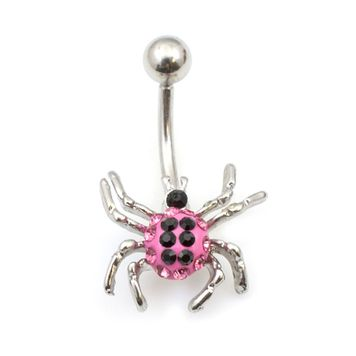 Cute Spider with Multiple CZ Belly Button Ring 14g