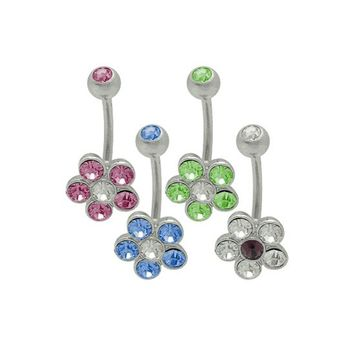 14 gauge Cz Gem Flower Navel Ring