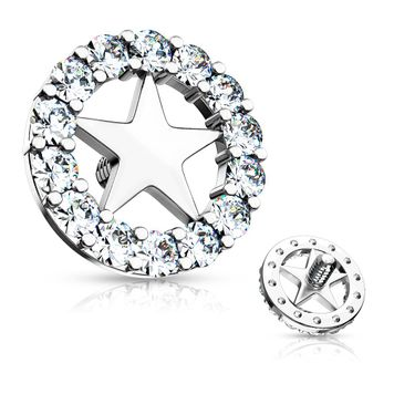 CZ Paved Circle Outlined Star Center Internal Threaded Dermal Anchor Top 14ga Surgical Steel