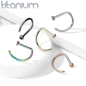 D Shape Flat End Nose Hoops Titanium Implant Grade 18 Gauge and 20 Gauge
