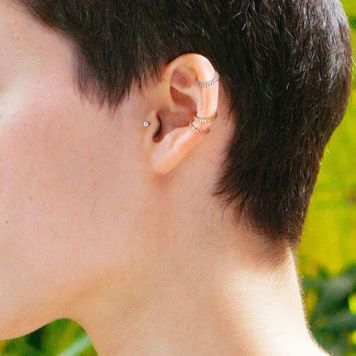 Daith Conch Helix Hinged Segment Hoop Ring with Set CZ Paved Jewels 16ga 14ga- Sold Each