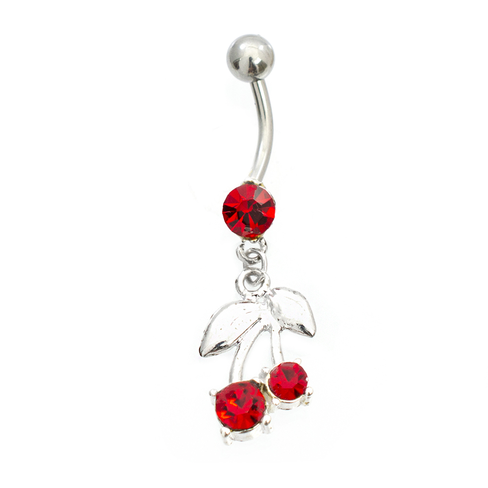 Cherry Belly Button Ring Acrylic 14g Surgical Steel