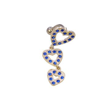 3 Blue Cubic Zirconia Studded Hearts Inverse Belly Button Dangle 316l Surgical Steel 14ga