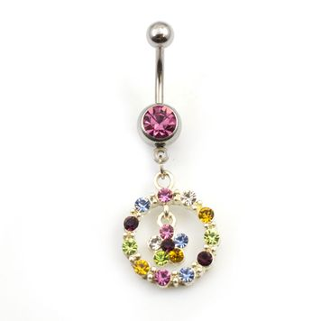14 gauge Dangler Circle and Flower Belly Ring with Multi Color Cz Jewels