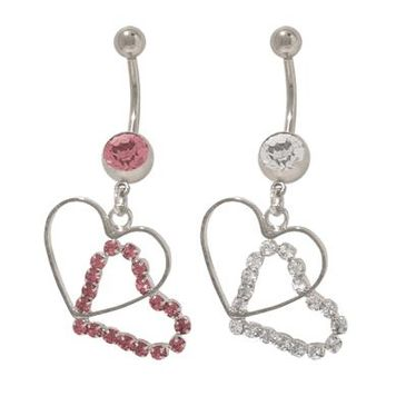 14 gauge Dangler Hearts Belly Button Ring with Jewels