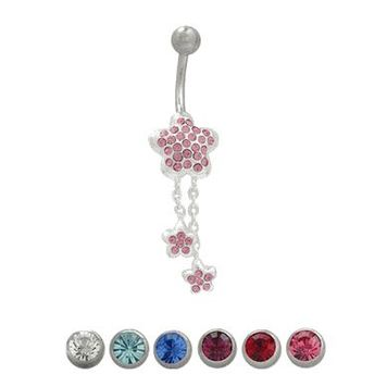 14 gauge Dangler Jeweled Stars Navel Ring