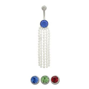 14 gauge Dangling belly button ring surgical steel with sterling silver dangling design