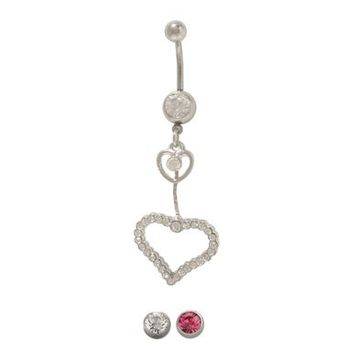 14 gauge Dangling Hearts Belly Button Ring with Jewels