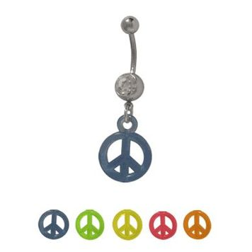 14 gauge Dangling UV Acrylic Peace Sign Belly Ring