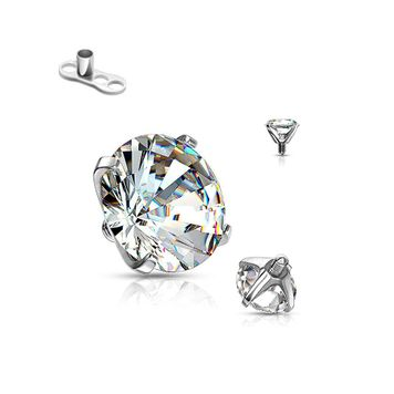 Dermal Clear Round CZ Top Prong Setting  Surgical Steel 14 Gauge with base