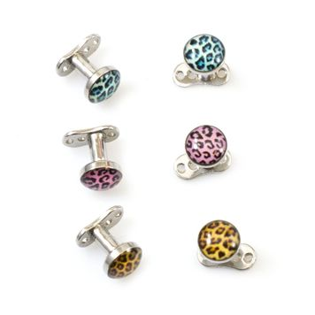 Dermal Top and Anchor with Colorful Tiger Pattern pack of 6