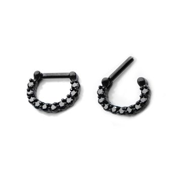 Black 14g or 16g Septum Clicker with Black Jewels