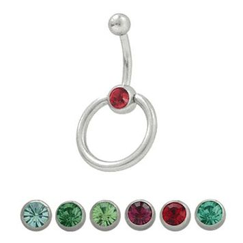 14 gauge Door Knocker Belly Button Ring Surgical Steel with Jewel