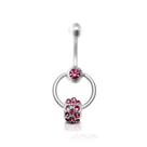 Belly Button Ring with Pink Cubic Zirconia Door Knocker Design 14 Gauge 7/16