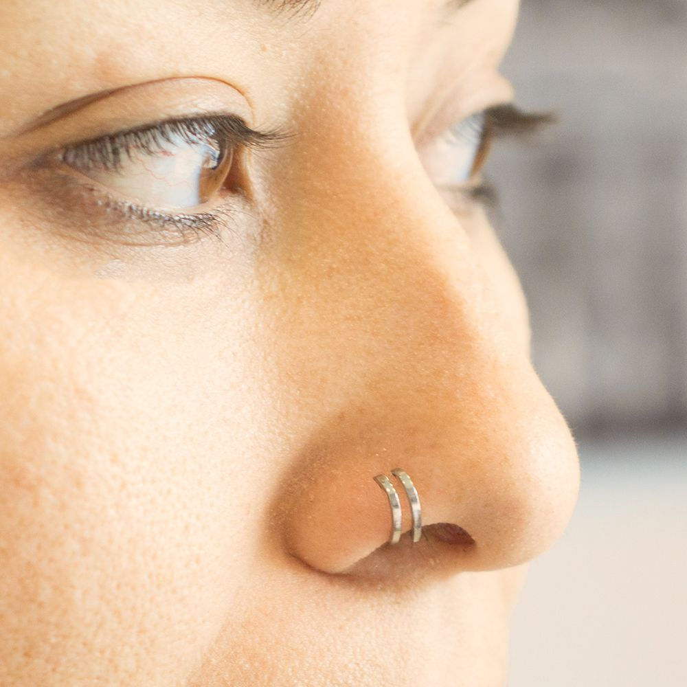Double Faux Hoop L Shape Nose Ring Nose Stud 18ga