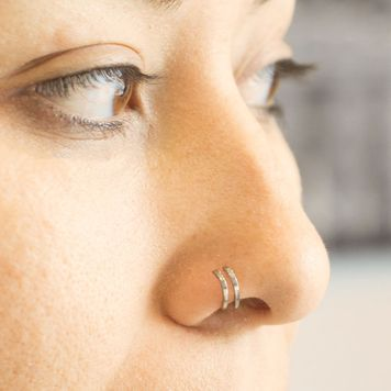 Double Hoop Nose Ring for Single Piercing 20ga 18ga- Sold Each