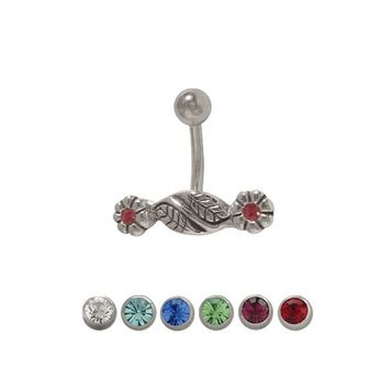 14 gauge Double Flower Belly Button Ring Surgical Steel with Jewels