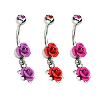 Double Metal Dangle Rose 14 gauge Belly Button Ring with Gem Ball Bead