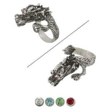 Dragon Finger Ring with Jewels for Eyes