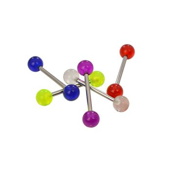 Pack of 5 Assorted Acrylic Ball Colors Tongue Straight Barbells 316l Surgical Steel 14ga