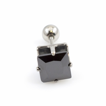 Ear Cartilage Barbell with Square Prong Setting Cubic Zirconia 16G