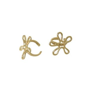 Pair of Ear Cuffs 14k Gold Plated, Flower Shape Design